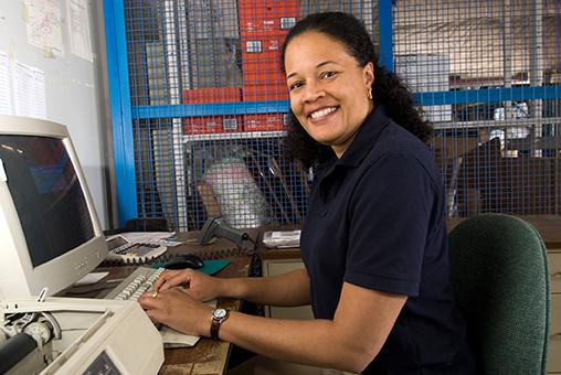 female employee at desk