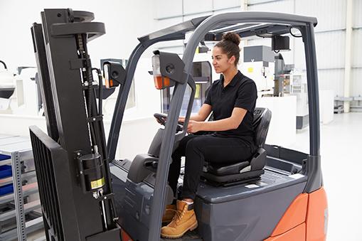 female forklift driver