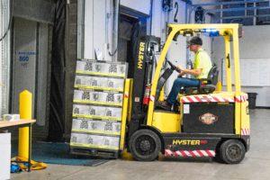 forklift driver loading trailer
