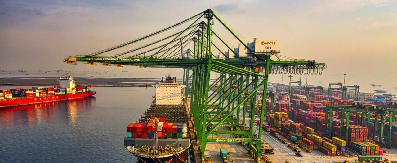 port view with container ship and yard